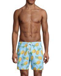 Trunks Surf & Swim Men's Sano Pineapple Swim Trunks - Tourmaline - Size L - Blue