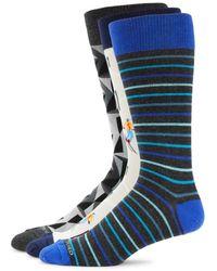 Unsimply Stitched Men's 3-pack Geometric-print Crew Socks - Blue