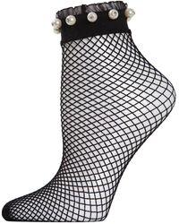 Memoi - Faux Pearl Ruffle-cuff Fishnet Anklet Socks - Lyst