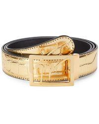 Giuseppe Zanotti Logo Leather Belt - Metallic