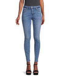 True Religion Women's Jennie High-rise Distressed Curvy Skinny Jeans - Medium - Size 24 (0) - Blue