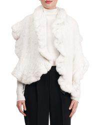 Gorski Mink Fur Knit Ruffle Stole - White