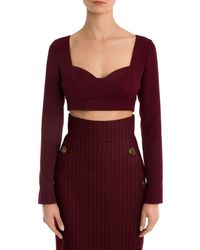 Sara Battaglia Long-sleeve Cropped Sweetheart Top - Purple