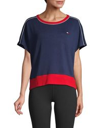 Tommy Hilfiger Women's Dropped-shoulder Tee - Navy - Size S - Blue