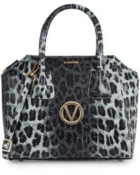 Valentino By Mario Valentino Minimi Animalier Embossed Leather Satchel - Gray