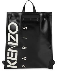 KENZO Drawstring Leather Backpack - Black