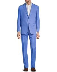 Canali Men's Slim-fit Pinstriped Wool Suit - Charcoal - Size 52 (42) - Blue
