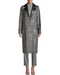 Lafayette 148 New York Octavia Animal-print Calf Hair Coat - Grey