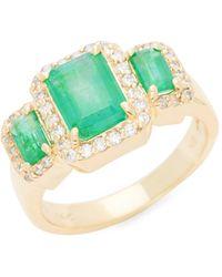 Effy 14k Yellow Gold, Emerald & Diamond Ring - Multicolor