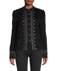 Free People Maven Studded And Embroidered Velvet Jacket - Black