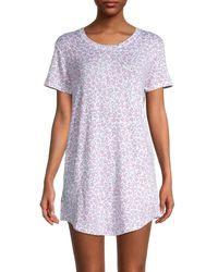 Kensie Women's Printed Short-sleeve Nightshirt - White Floral - Size L
