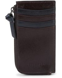 Ted Baker Men's Zip-around Leather Card Case - Chocolate - Black