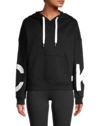 Calvin Klein Women's Graphic Cotton-blend Hoodie - White - Size L
