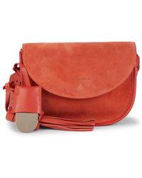 Santoni Isotta R55 Suede Shoulder Bag - Red