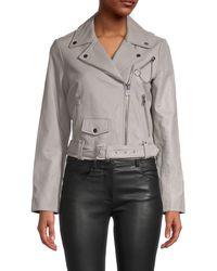 Maje Notched Leather Jacket - Grey