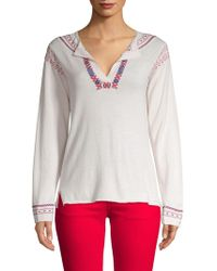 A.P.C. - Medina Embroidered Silk Blouse - Lyst