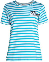 Karl Lagerfeld Striped Logo T-shirt - White