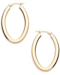 Saks Fifth Avenue 14k Yellow Gold Oval Tube Hoop Earrings - Metallic