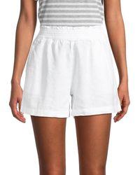 Saks Fifth Avenue Women's Smocked-waist Linen Shorts - White - Size L