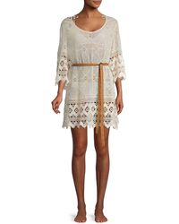 Eberjey Lace Belted Cotton Coverup - Black