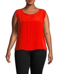 Marina Rinaldi Plus Sleeveless Silk Top - Orange