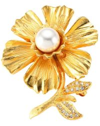 Kenneth Jay Lane Goldplated Faux-pearl & Crystal Flower Pin - Multicolour