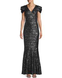 Michael Kors Puff-sleeve Sequin Trumpet Gown - Black