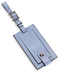 Valentino Buckled Leather Luggage Tag - Blue
