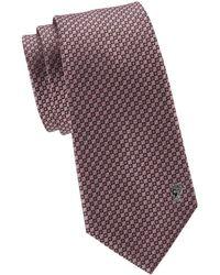 Versace Men's Geometric Silk Tie - Violet - Purple