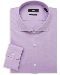 BOSS by Hugo Boss Sharp-fit Woven Dress Shirt - Purple