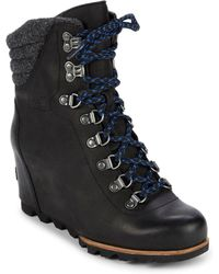 Sorel - Conquest Leather Wedge Booties - Lyst