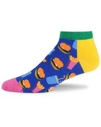 Happy Socks Men's Hamburger-print Liner Socks - Yellow Multi - Blue