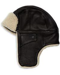 UGG Shearling-trim Leather Trapper Hat - Black