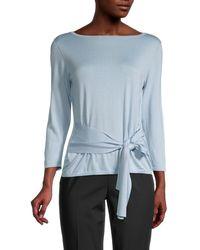 Lafayette 148 New York Tie-front Silk & Cotton Jumper - Blue