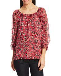 Parker Women's Molly Silk Blouse - Bali Floral - Size Xxs - Red
