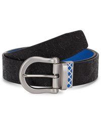 Robert Graham Men's Senegal Reversible Leather Belt - Black Blue - Size 32