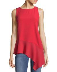 Saks Fifth Avenue Black Asymmetrical Ruffle Hem Sleeveless Dress - Red