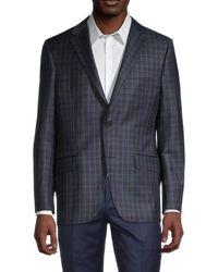 Hickey Freeman Men's Standard Fit Plaid-print Wool Suit Jacket - Blue - Size 40 R
