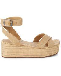 Lucky Brand Women's Bikaro Ankle-strap Wedge Sandals - Natural - Size 10