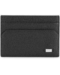 Bally Money Clip Leather Card Case - Black