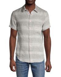 Madewell Striped Short-sleeve Linen Shirt - Grey