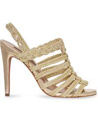 BCBGMAXAZRIA Ana Leather Sandals - Metallic