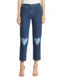 Stella McCartney - High-rise Cropped Straight Heart-detail Jeans - Lyst