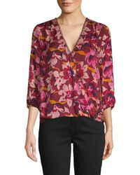 Ava & Aiden Floral-print Wrap Top - Red