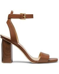 MICHAEL Michael Kors Women's Petra Leather Ankle-strap Sandals - Maroon - Size 5.5 - Brown