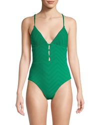 Red Carter Cutout Textured One-piece Swimsuit - Green