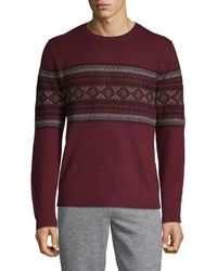 Saks Fifth Avenue Geometric-print Cashmere Sweater - Purple