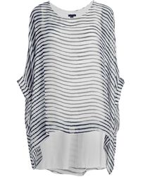 Saks Fifth Avenue Striped Silk Poncho Top - White