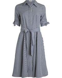 Calvin Klein Belted Gingham Cotton Shirtdress - Blue