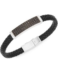Effy Sterling Silver Spinel Plaque Leather Bracelet - Black